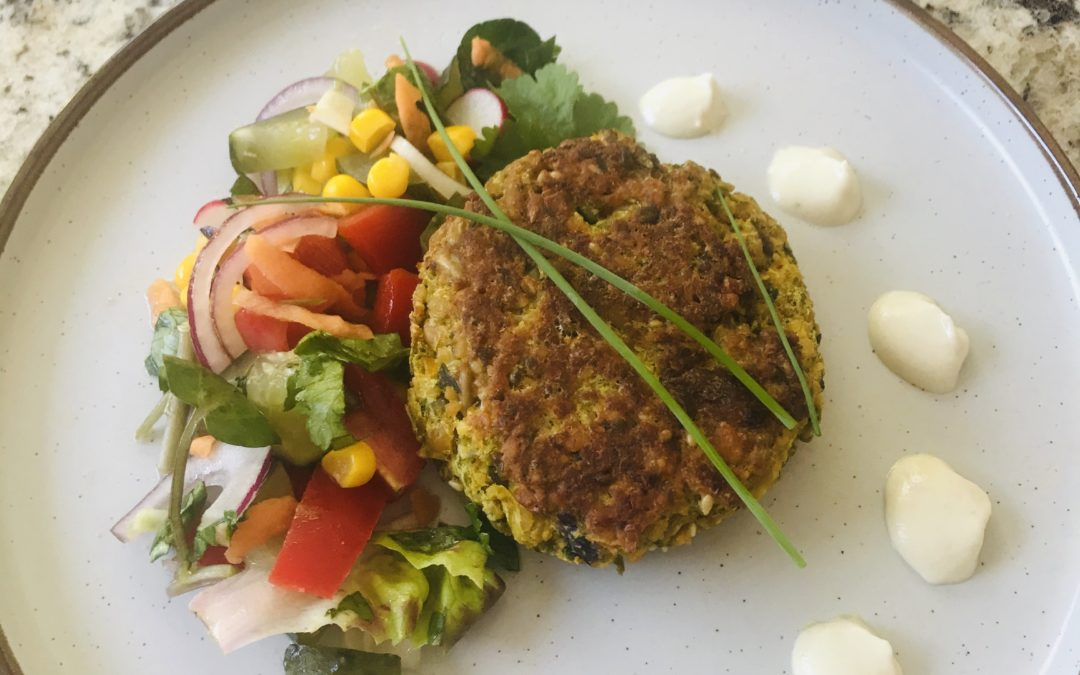 Vegan Pea 'Burgers' with cashew sour cream